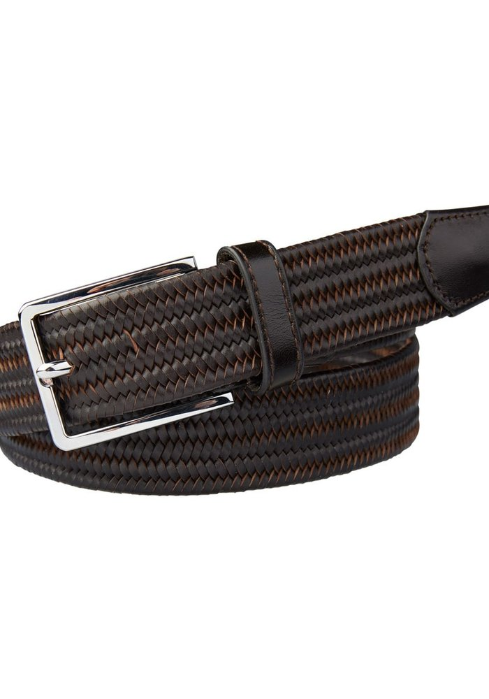 Profuomo Belt Braided Brown Leather