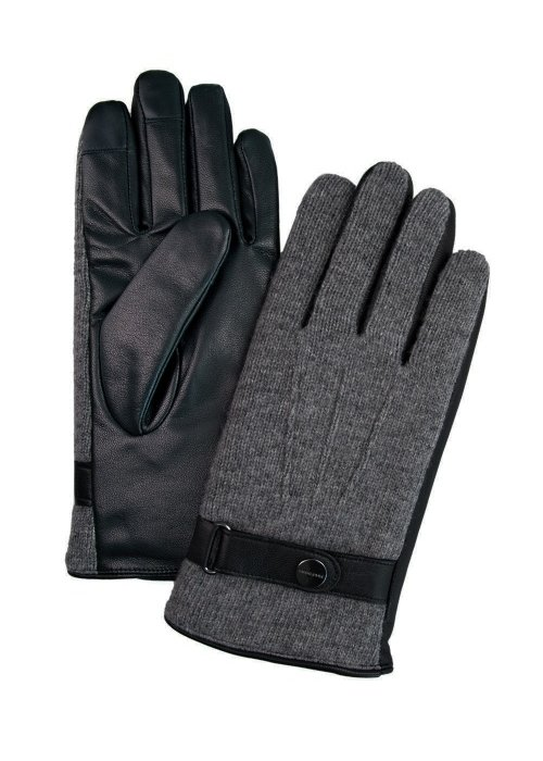 Profuomo Profuomo Leather Knitted Gloves Grey