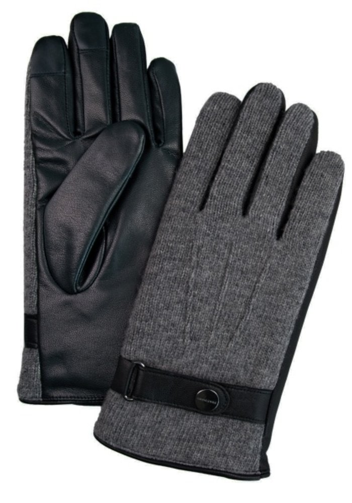 Profuomo Leather Knitted Gloves Grey