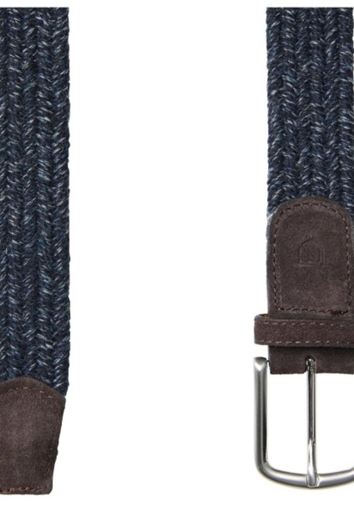 Profuomo Belt Braided Wool Navy Mel