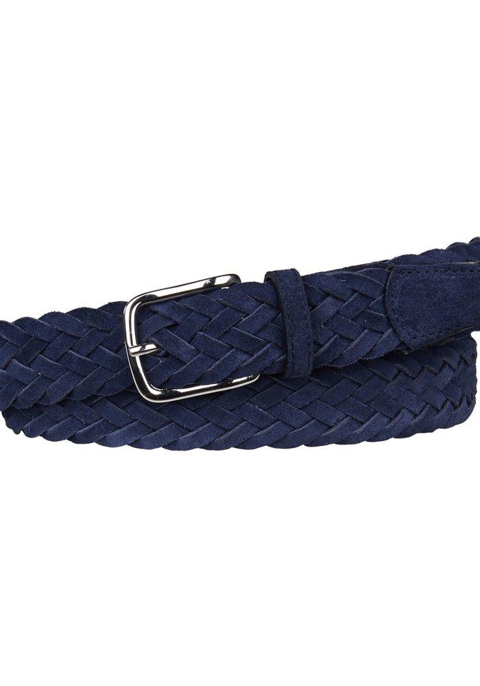 Profuomo Belt Braided Blue Suede