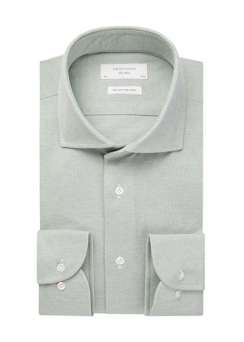 Profuomo Profuomo Knitted Shirt Cutaway Green