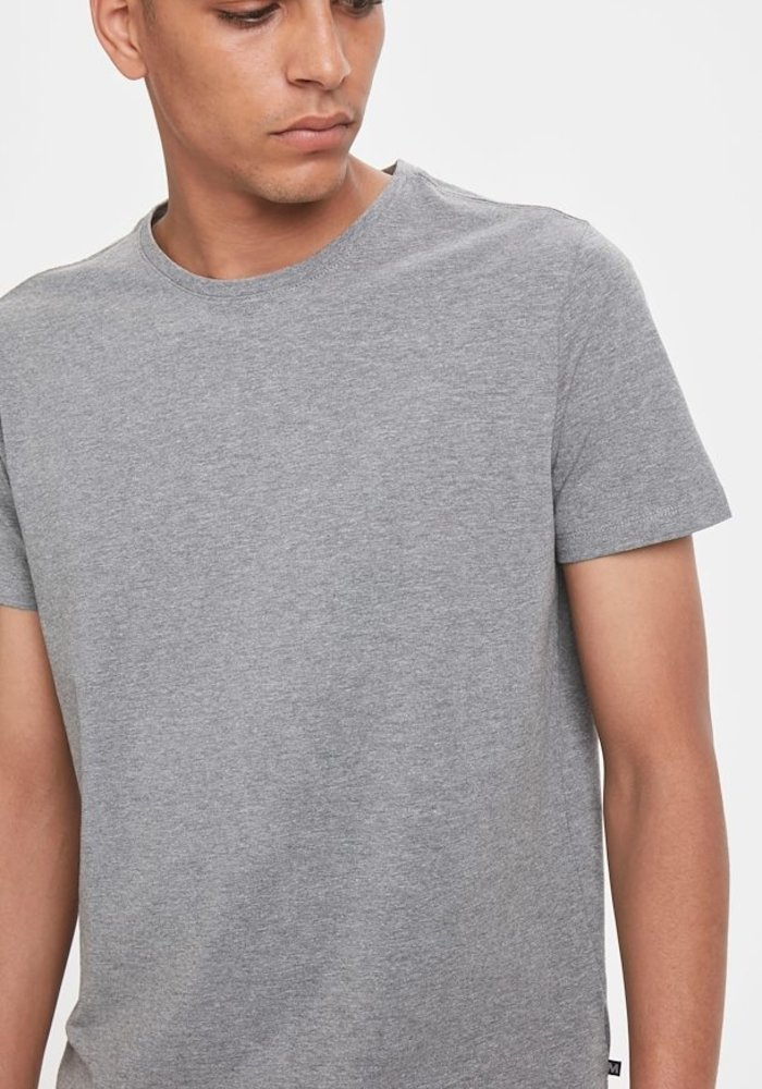 Matinique Jermalink Cotton Stretch T-shirt Mid Grey Melange