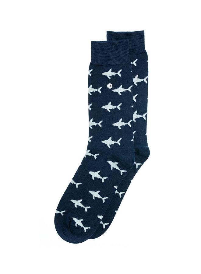 Alfredo Gonzales Socks Shark Attack Navy/Beige