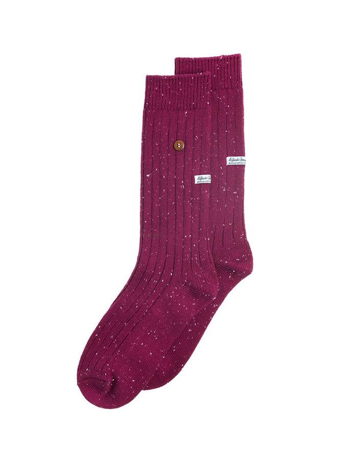Alfredo Gonzales Socks Speckled Cotton Bordeaux