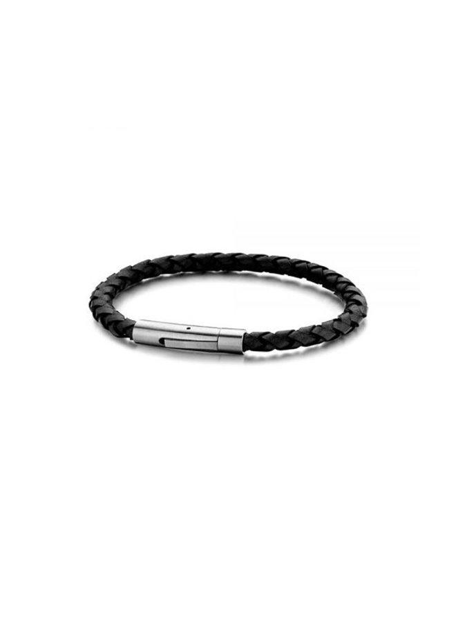 Frank 1967  Steel Bracelet Black Leather 21