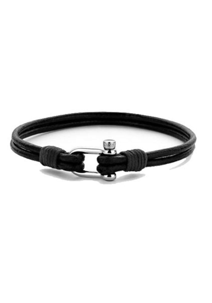 Frank 1967 7FB-0332 Anchor Bracelet Black Leather