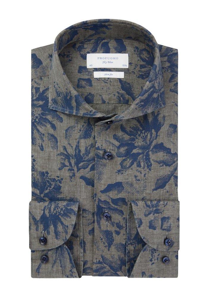 Profuomo Shirt X Cutaway Blue FlowerPrint