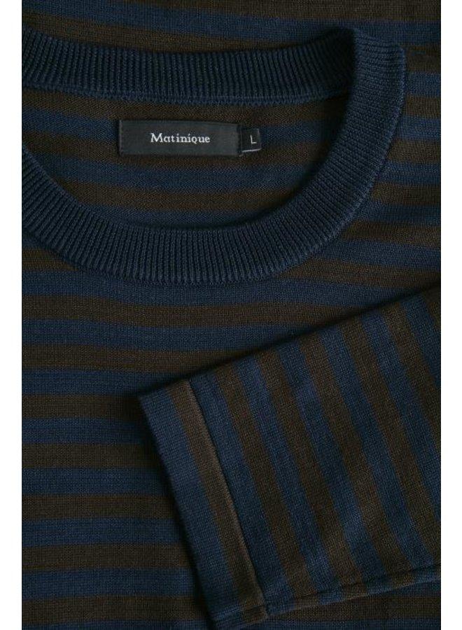 Matinique Lennon H Striped Sweater Dark Brown