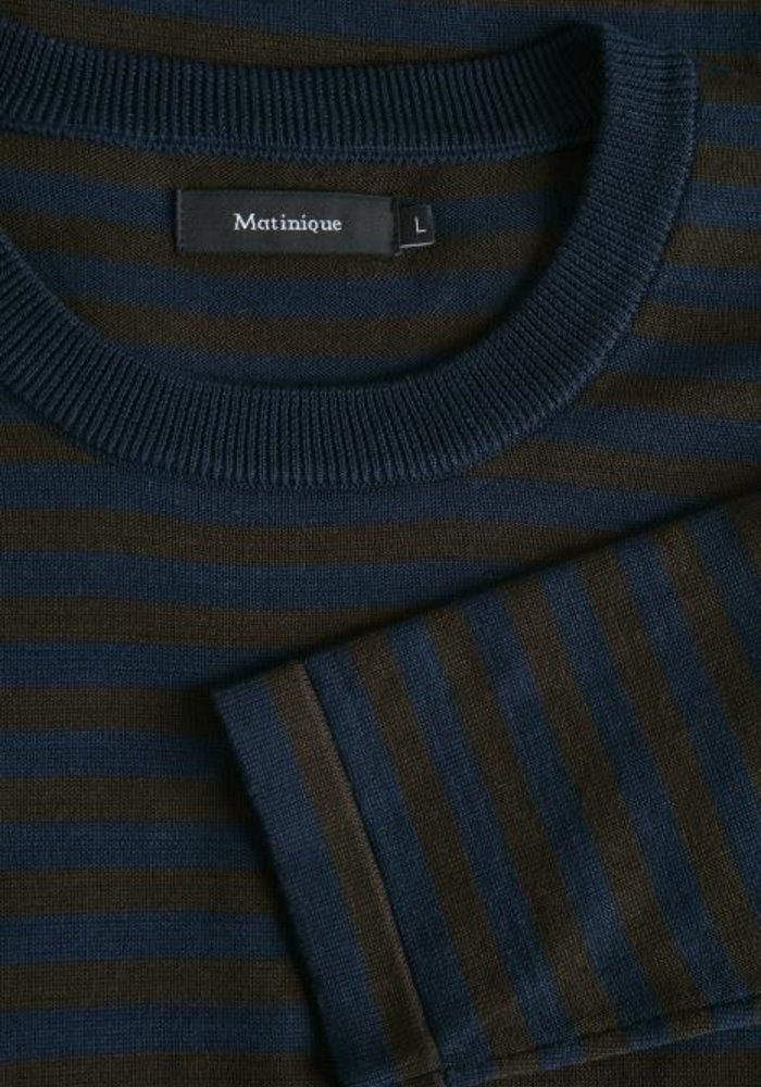 Matinique Lennon H Striped Sweater Dark Brown