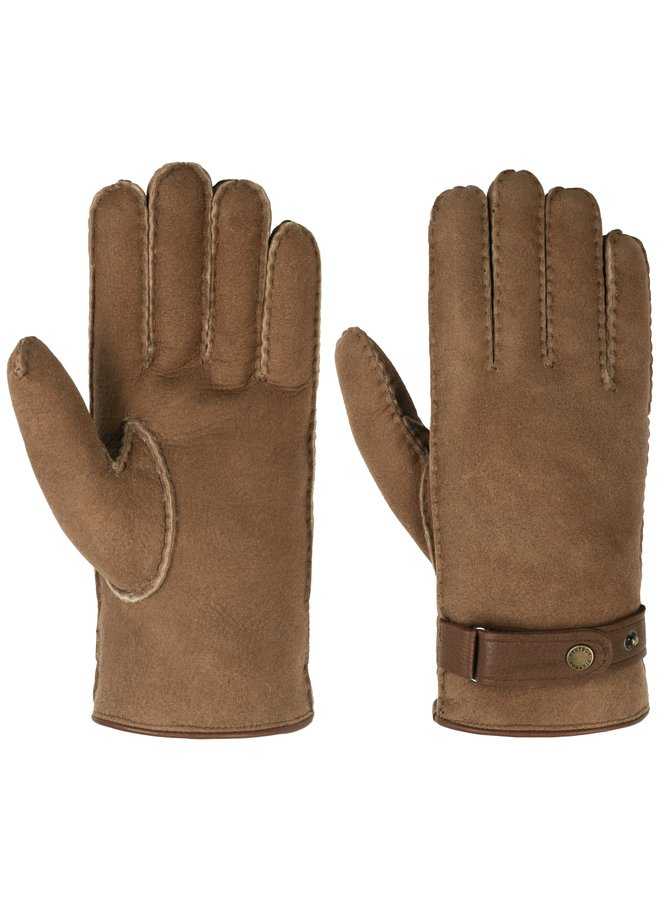 Stetson Gloves Lambfur/ Deerskin Brown