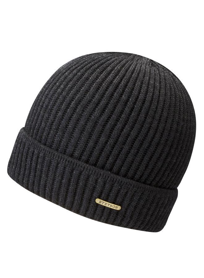 Stetson 8529301 61 Beanie Merino Wool Black