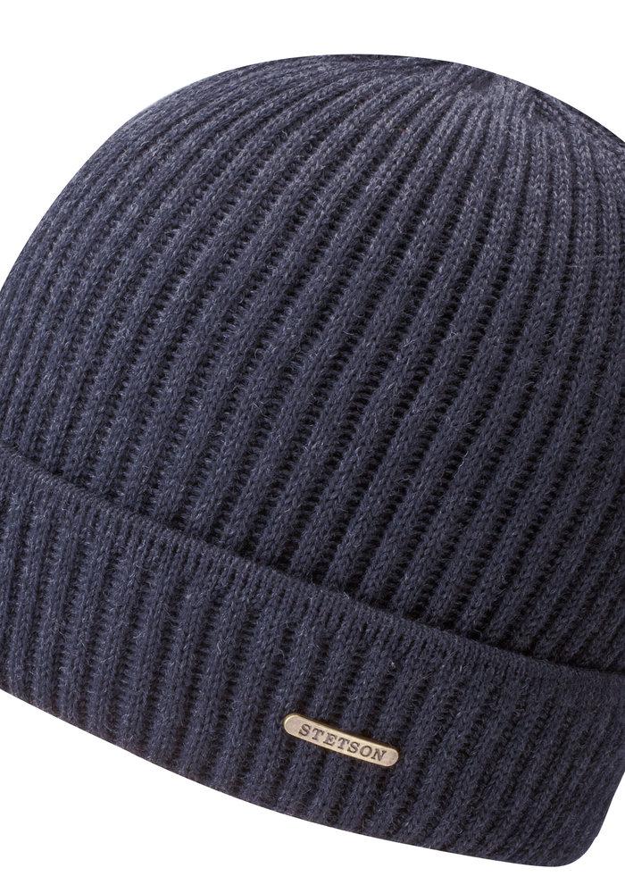 Stetson 8529301 2 Beanie Merino Wool Navy