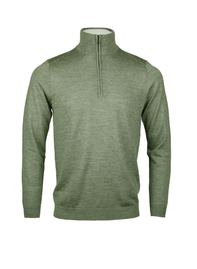 Circle Zip Pullover Trento Olive Grey