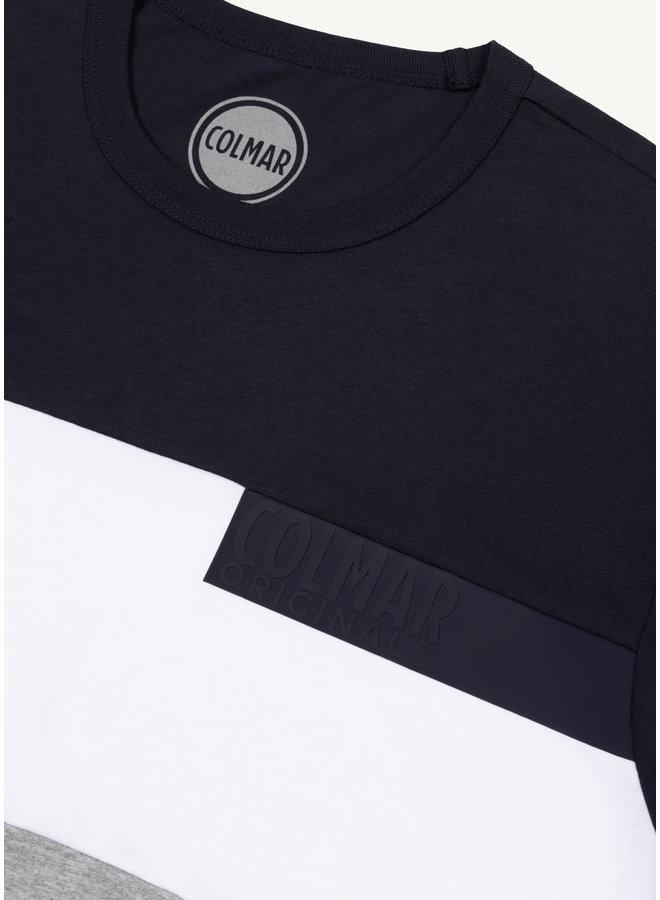 Colmar Block T-Shirt Navy Grey White