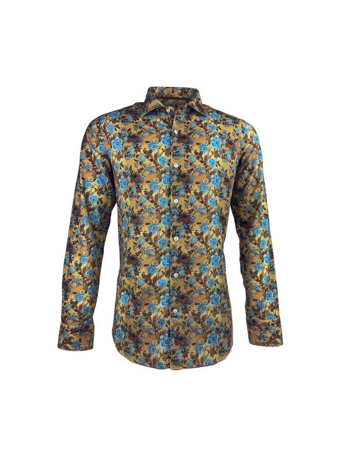 Tintoria Mattei 954 Ribbed Shirt Floral Ochre