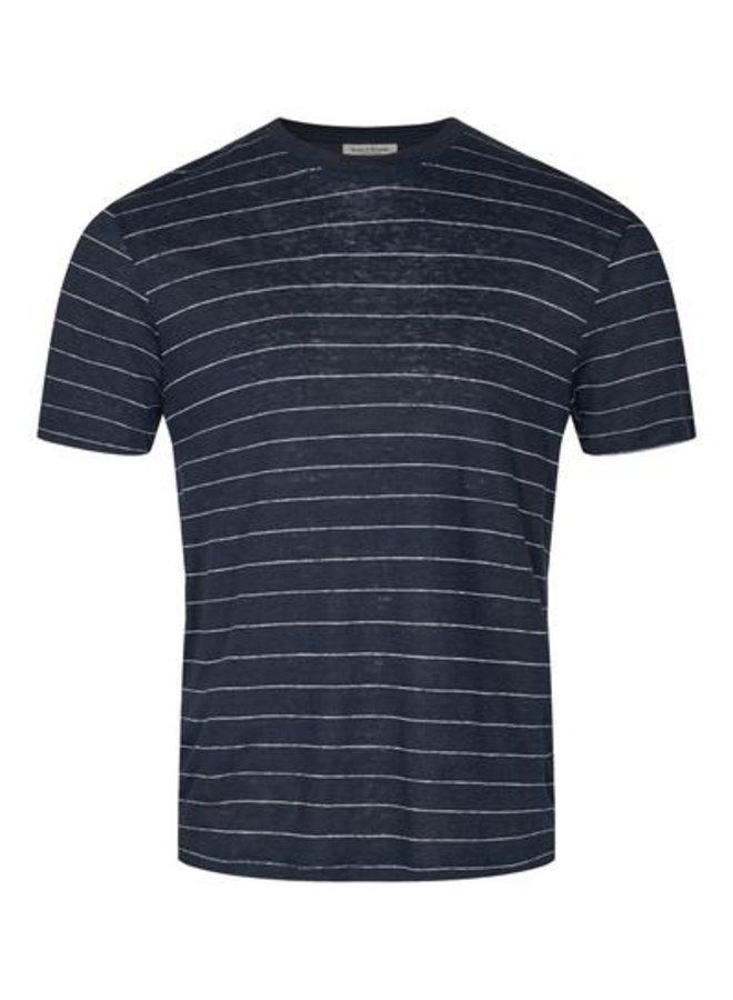 Bruun & Stengade Striped Linen T-shirt  Navy