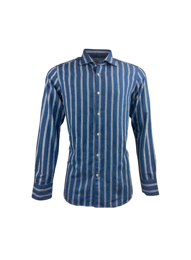 Tintoria Mattei 954 Brushed Cotton Blue Triple Stripe
