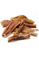 Puur gedroogde runderkophuid, een taaie en zeer harde snack voor uw hond.