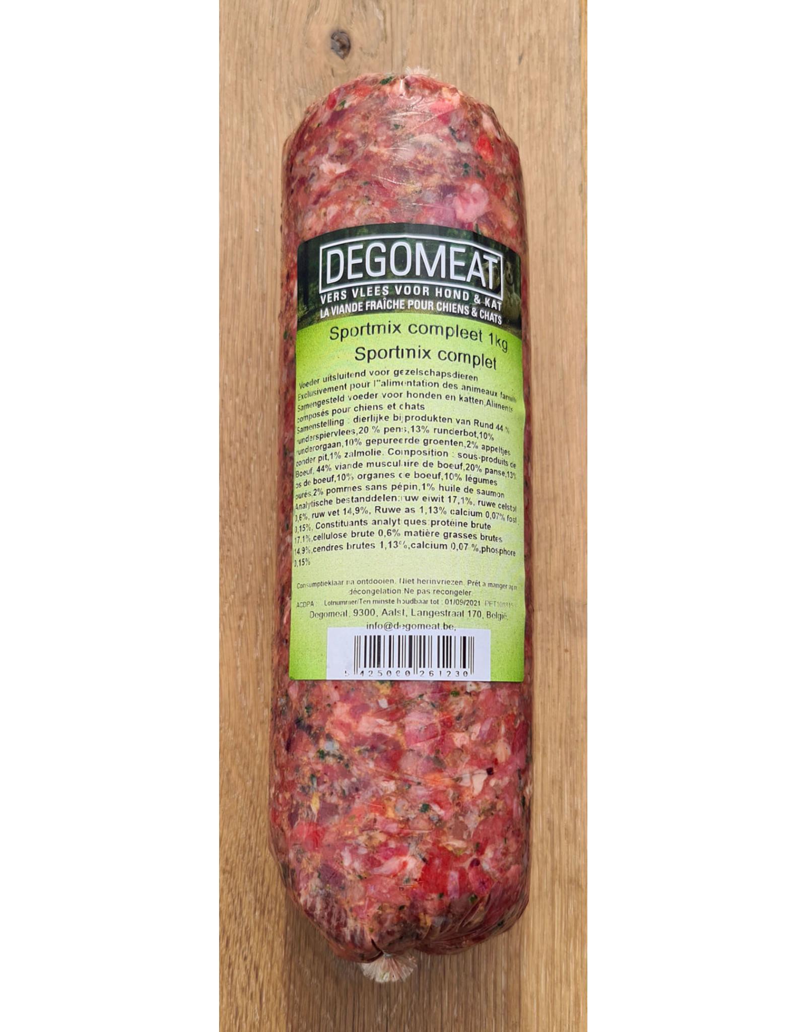 Vers vlees (KVV) voor de hond   Degomeat   Sport mix compleet   1000 gram