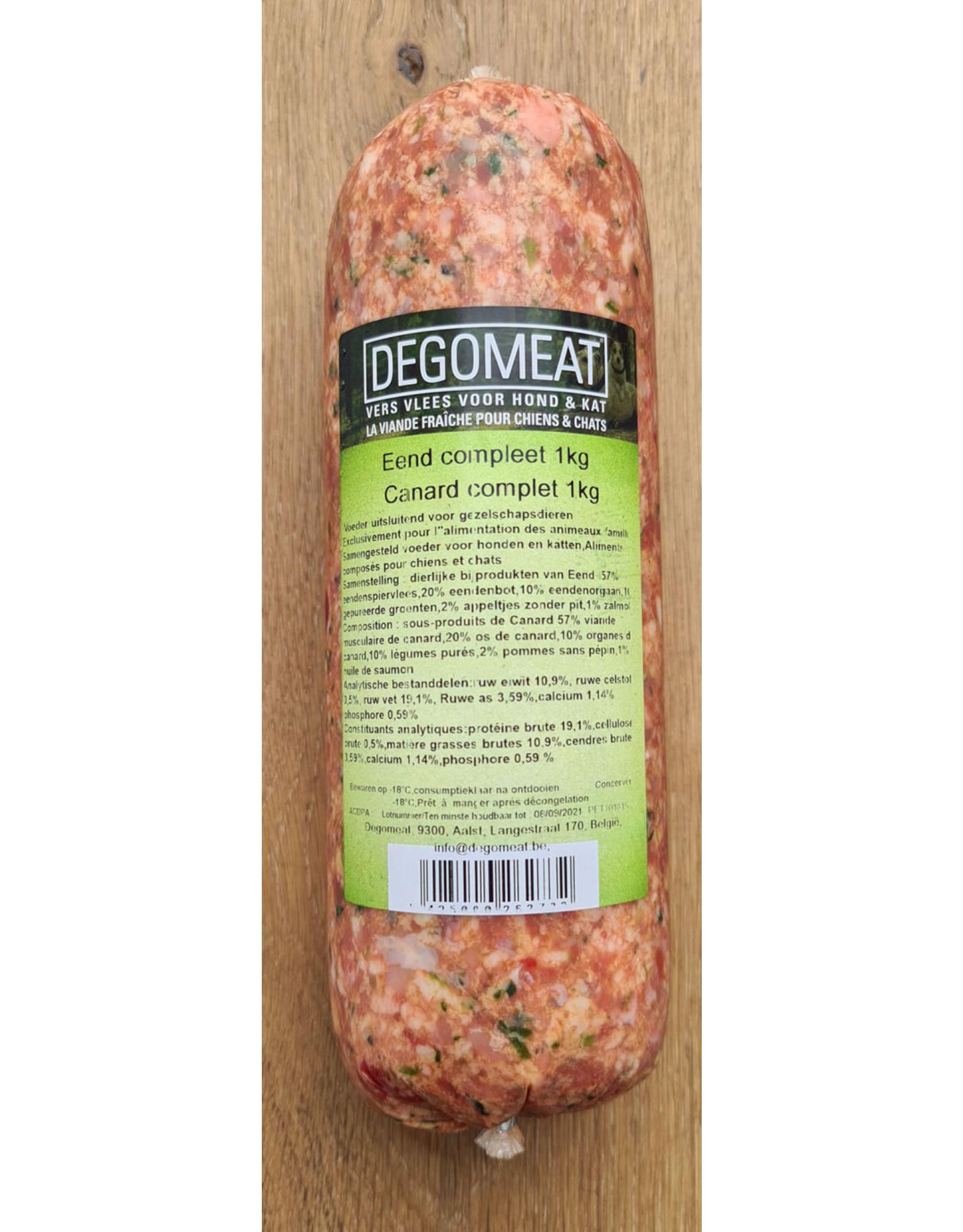 Vers vlees (KVV) voor de hond   Degomeat   Eend compleet   1000 gram