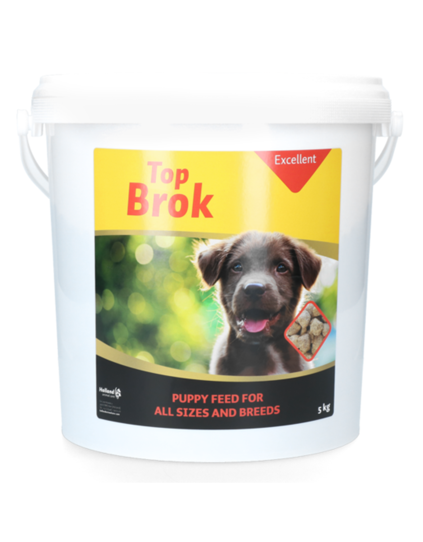 Excellent Topbrok is een volledig diervoeder voor puppy's en jonge honden.