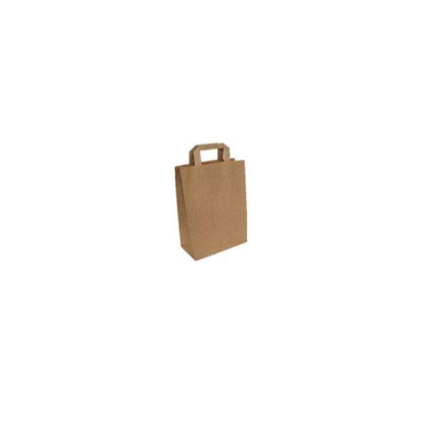 Papieren draagtassen, 26+12x39 cm, bruin met plat handvat