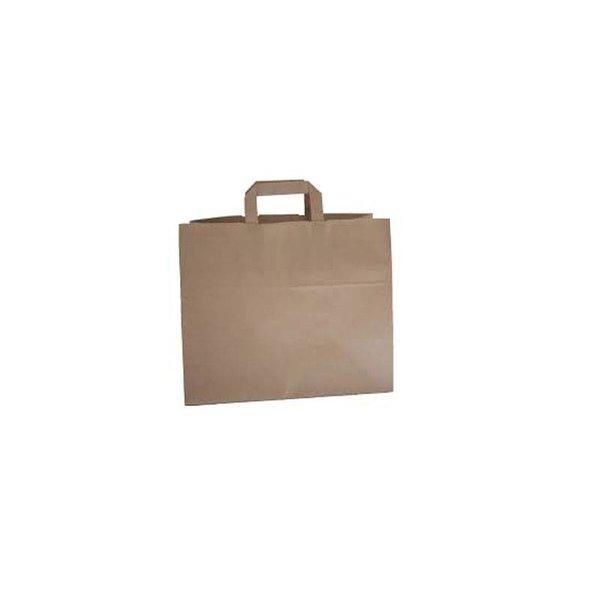 Papieren draagtassen, 32+21x27 cm, Snacktas, bruin, plat handvat