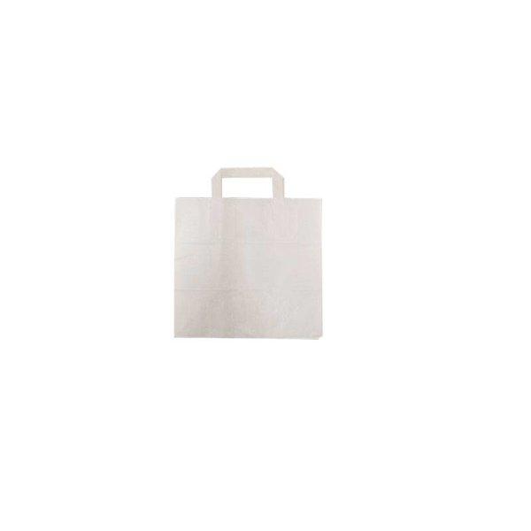Papieren draagtassen, 32+17x27 cm, Snacktas, wit, plat handvat