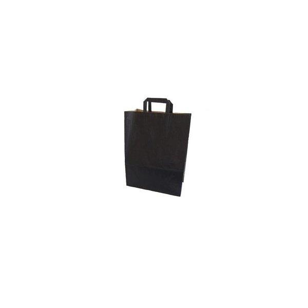 Zwarte papieren draagtassen, 32+15x43 cm,  met plat handvat