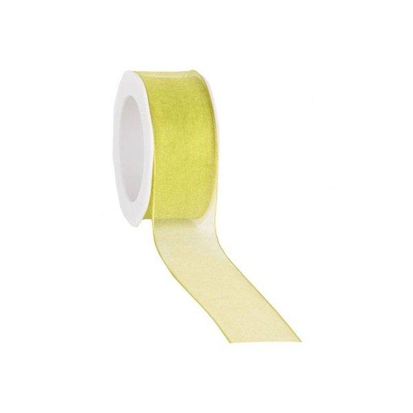Organzalint 25 mm. Geweven rand met ijzerdraad, Limoen