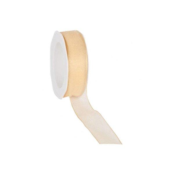 Organzalint 25 mm. Geweven rand met ijzerdraad, Oker goud/geel