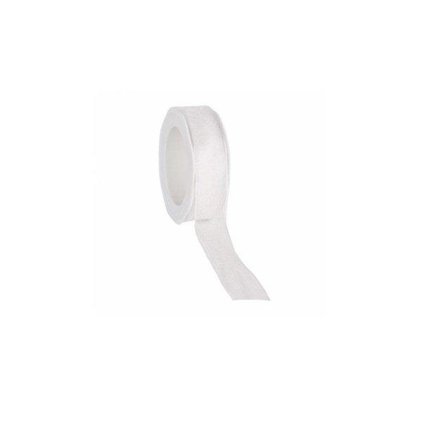 Organzalint 23 mm. Geweven rand met ijzerdraad, Wit