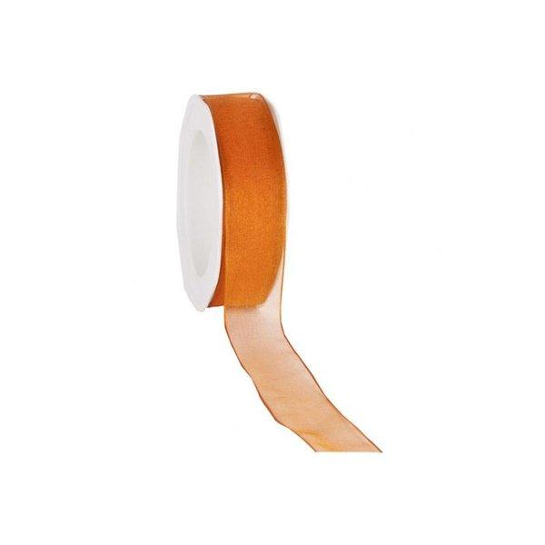 Organzalint 25 mm. Geweven rand met ijzerdraad, Oranje