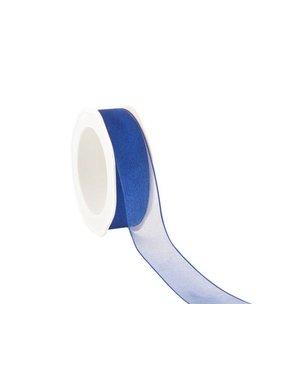 Organzalint, wired, 25 mm, Kobalt-blauw