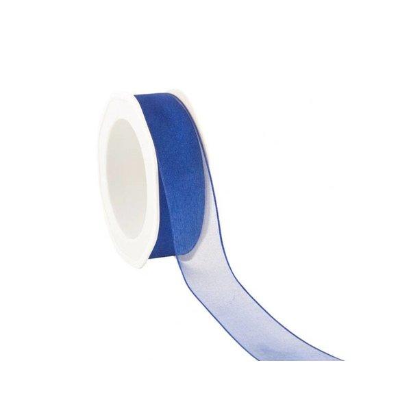 Organzalint 25 mm. Geweven rand met ijzerdraad, Kobalt-blauw