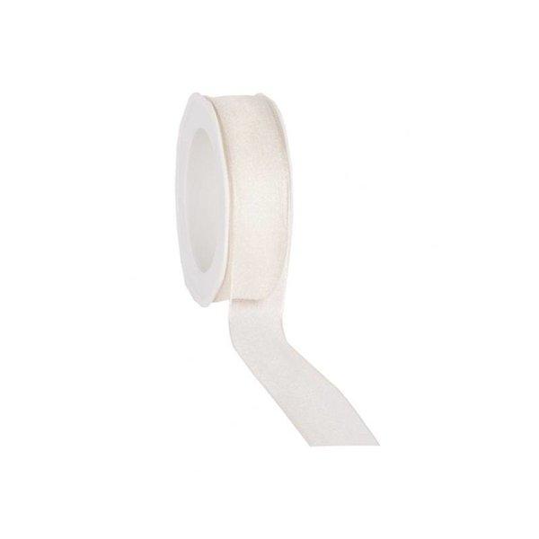Organzalint 25 mm. Geweven rand met ijzerdraad, Ivoor