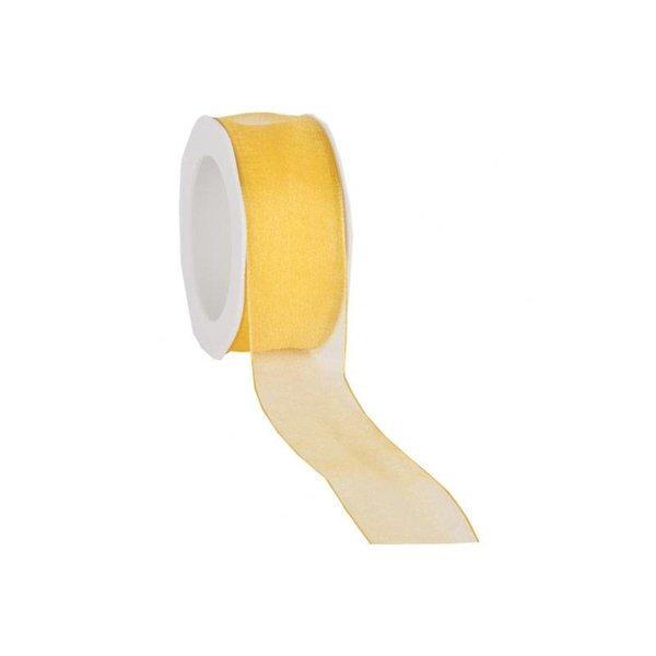 Organzalint 25 mm. Geweven rand met ijzerdraad, Geel