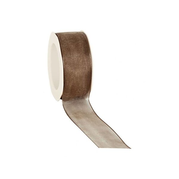Organzalint 25 mm. Geweven rand met ijzerdraad, Bruin