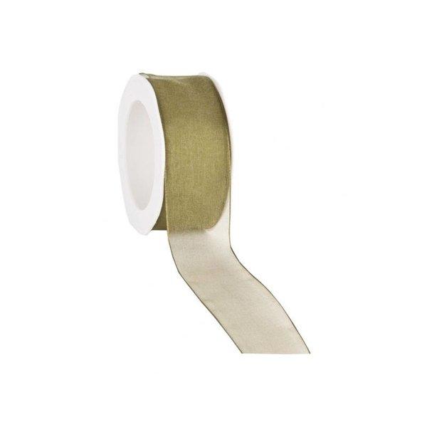 Organzalint 25 mm. Geweven rand met ijzerdraad, Mos-groen