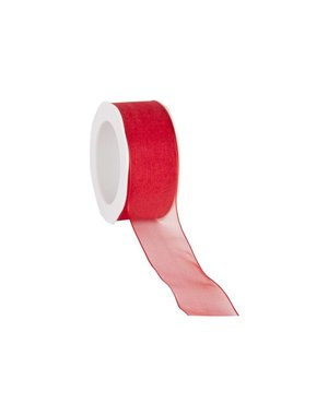 Organza ribbon, wired, 25 mm, Red
