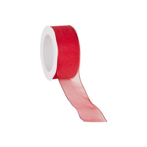 Organzalint 25 mm. Geweven rand met ijzerdraad, Rood