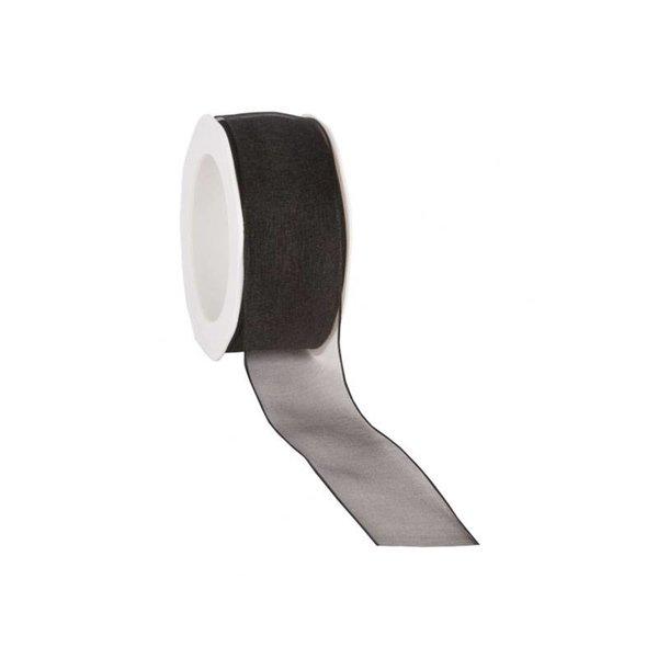 Organzalint 25 mm. Geweven rand met ijzerdraad, Zwart