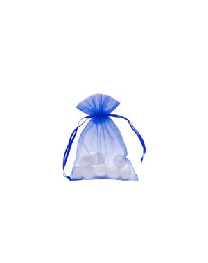 Organza bag with satin ribbon, Cobalt