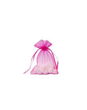 Organza bag with satin ribbon, Fuchsia