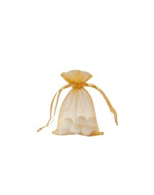 Organza bag with satin ribbon, Gold