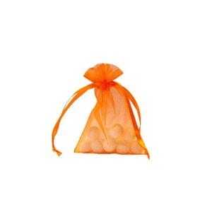 Organzazakje met satijn lint, Oranje