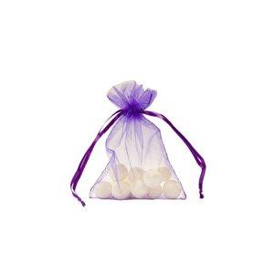 Organza bag with satin ribbon, Purple