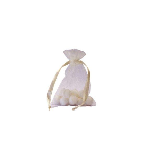 Organzazakje met satijn lint, Ivoor