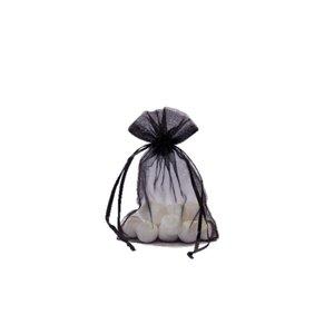 Organza bag with satin ribbon, Black